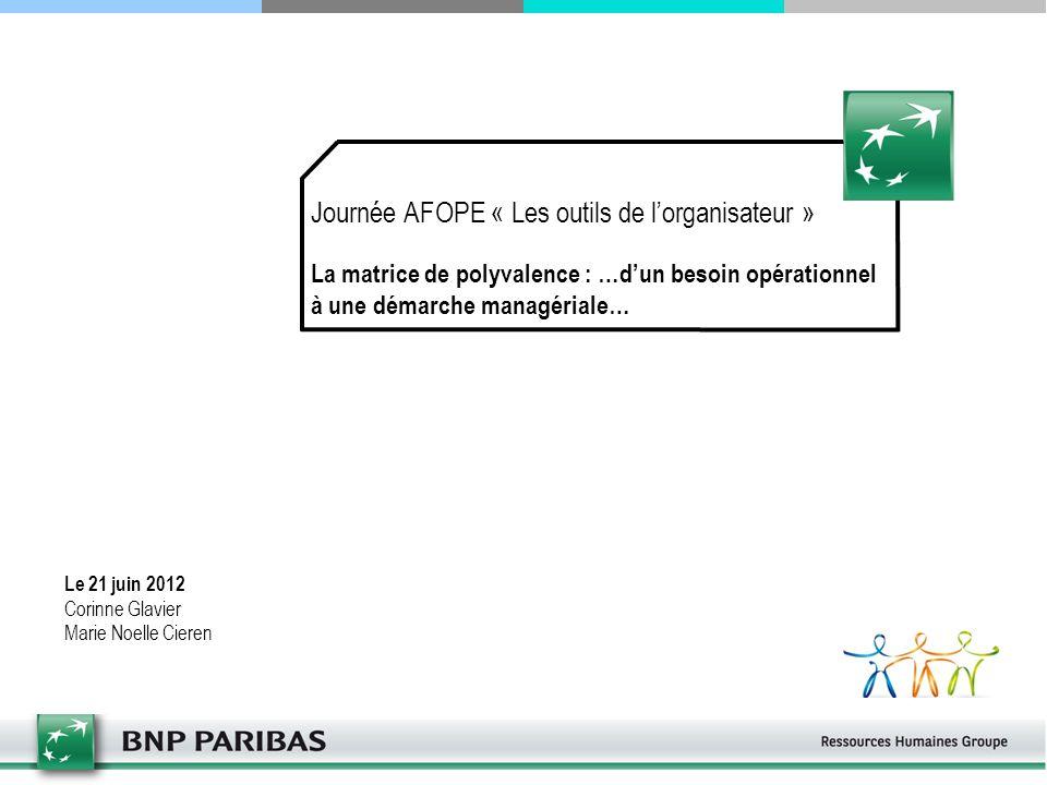 Journée AFOPE « Les outils de l'organisateur » La matrice de polyvalence : …d'un besoin opérationnel à une démarche managériale…