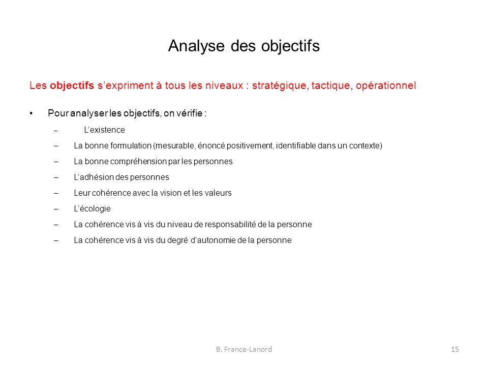 Analyse des objectifs Les objectifs s'expriment à tous les niveaux : stratégique, tactique, opérationnel.