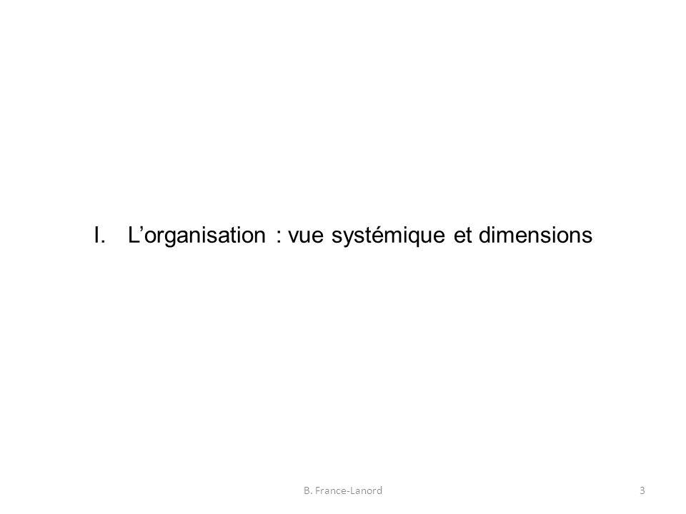 I. L'organisation : vue systémique et dimensions