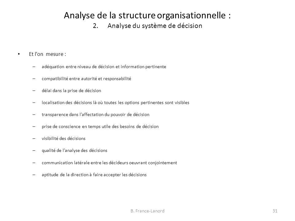 Analyse de la structure organisationnelle : 2