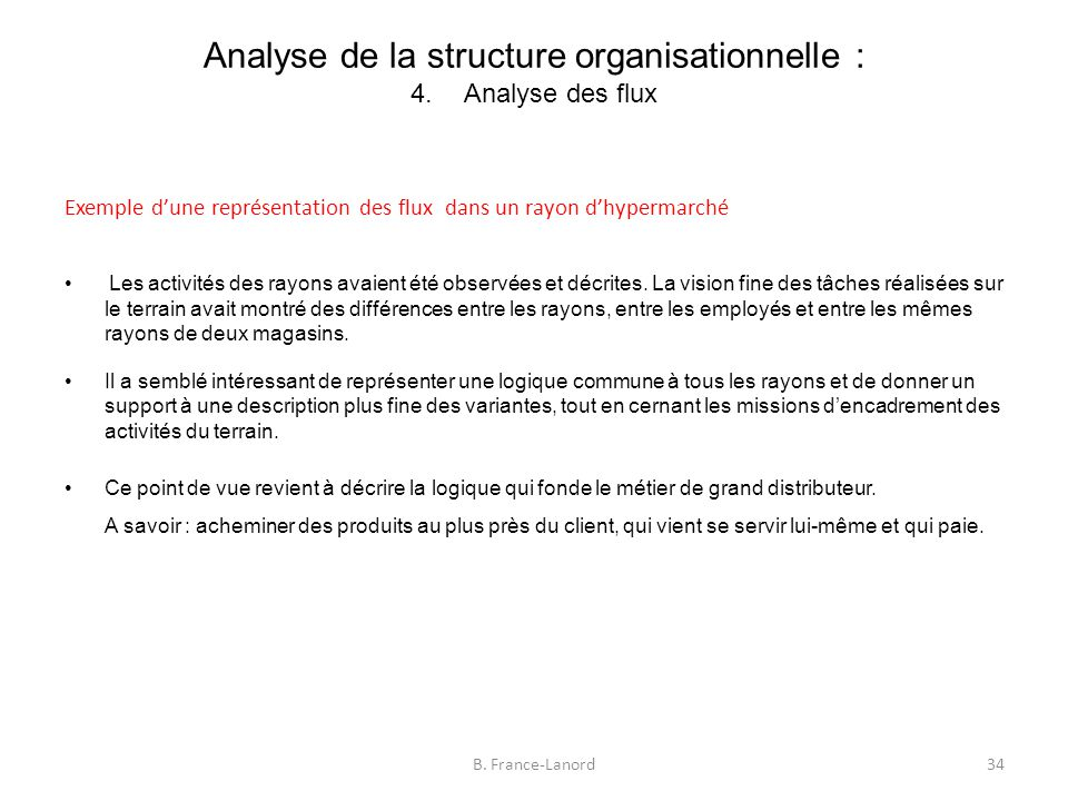 Analyse de la structure organisationnelle : 4. Analyse des flux
