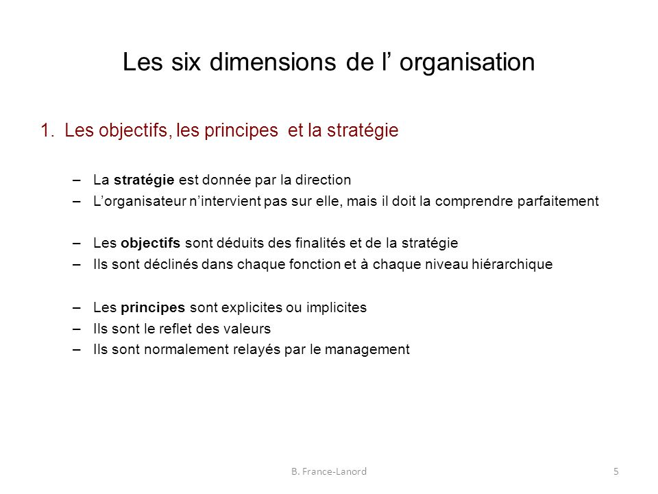 Les six dimensions de l' organisation