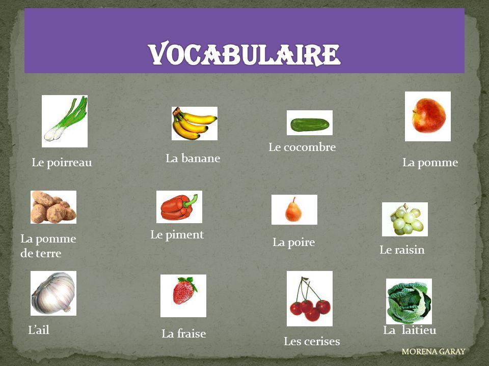 VOCABULAIRE Le cocombre La banane Le poirreau La pomme Le piment