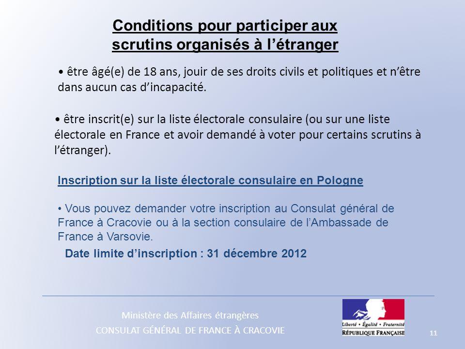 Conditions pour participer aux scrutins organisés à l'étranger