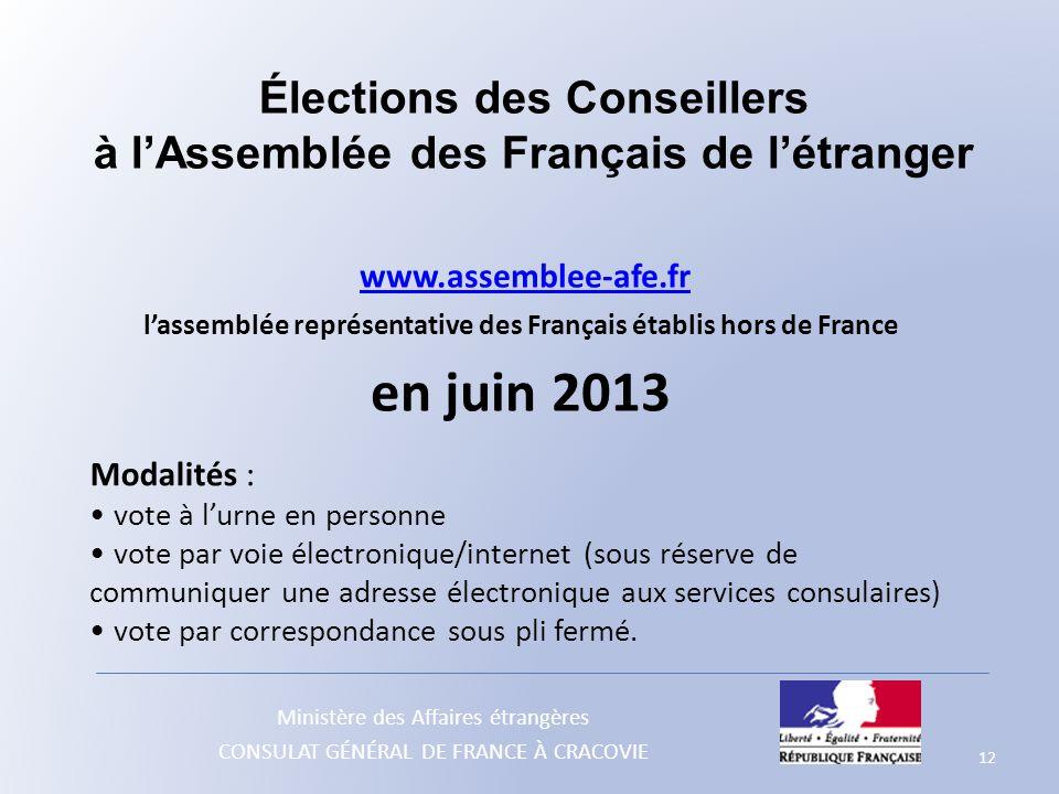 Élections des Conseillers à l'Assemblée des Français de l'étranger