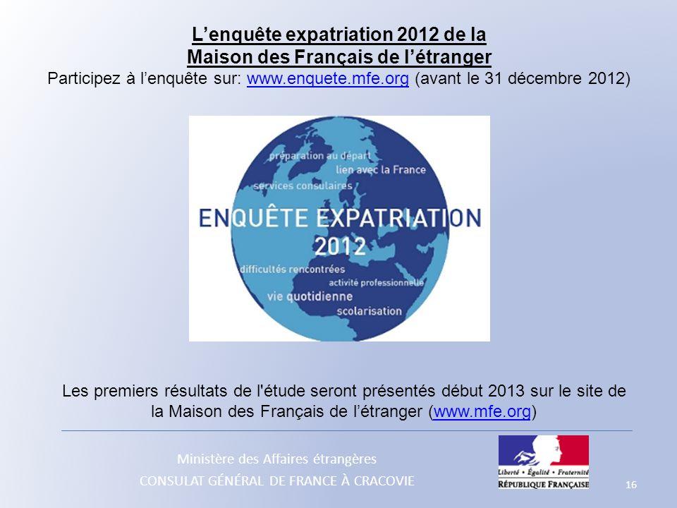 L'enquête expatriation 2012 de la Maison des Français de l'étranger
