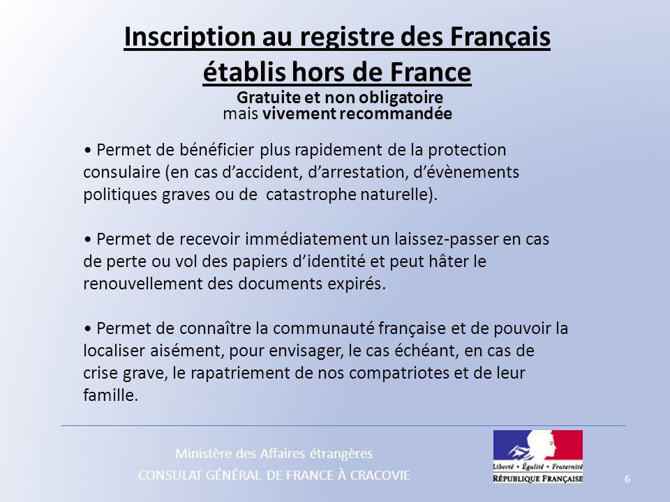 Inscription au registre des Français établis hors de France