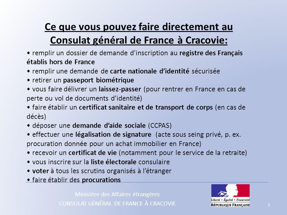 Ce que vous pouvez faire directement au Consulat général de France à Cracovie: