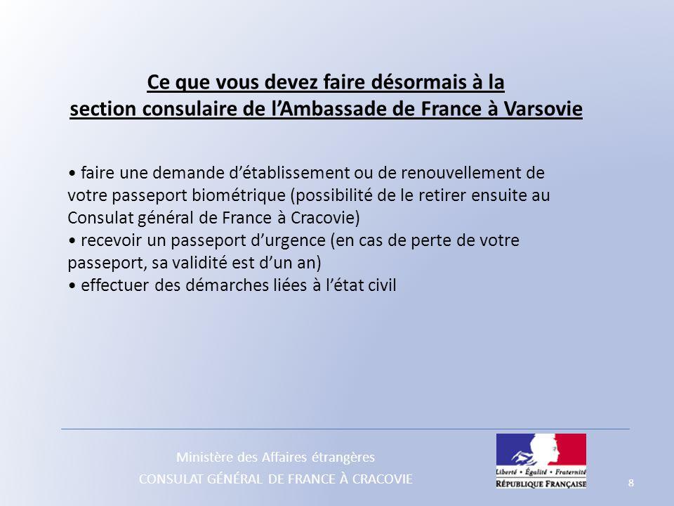 Ce que vous devez faire désormais à la section consulaire de l'Ambassade de France à Varsovie