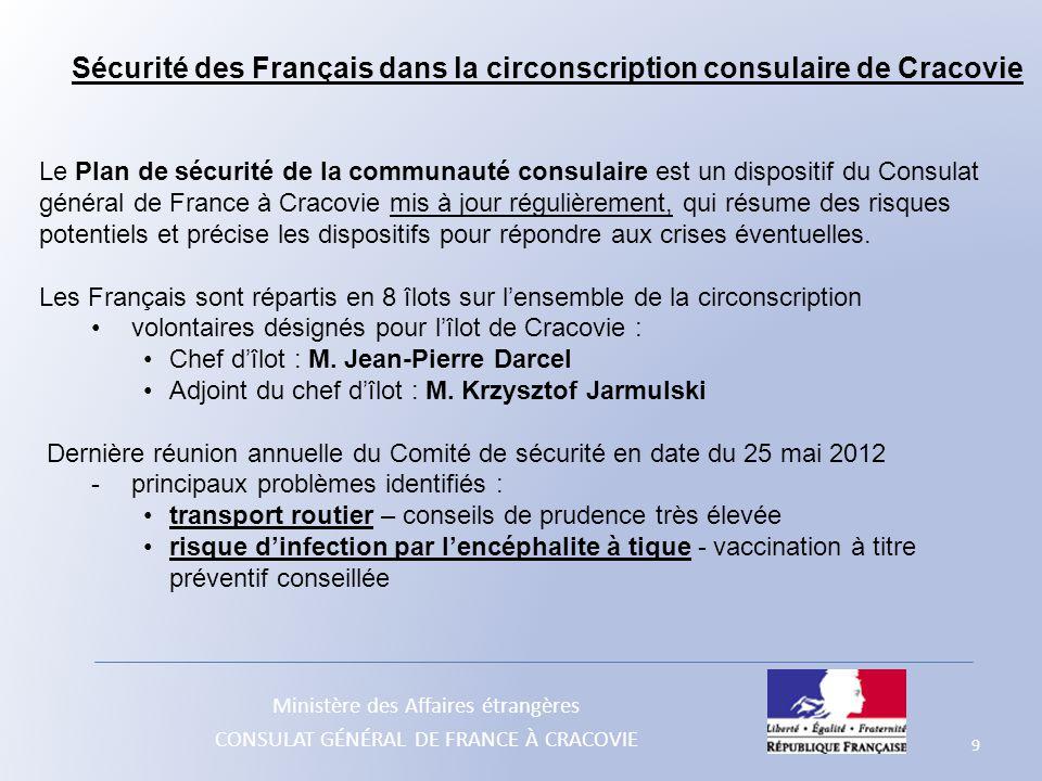Sécurité des Français dans la circonscription consulaire de Cracovie