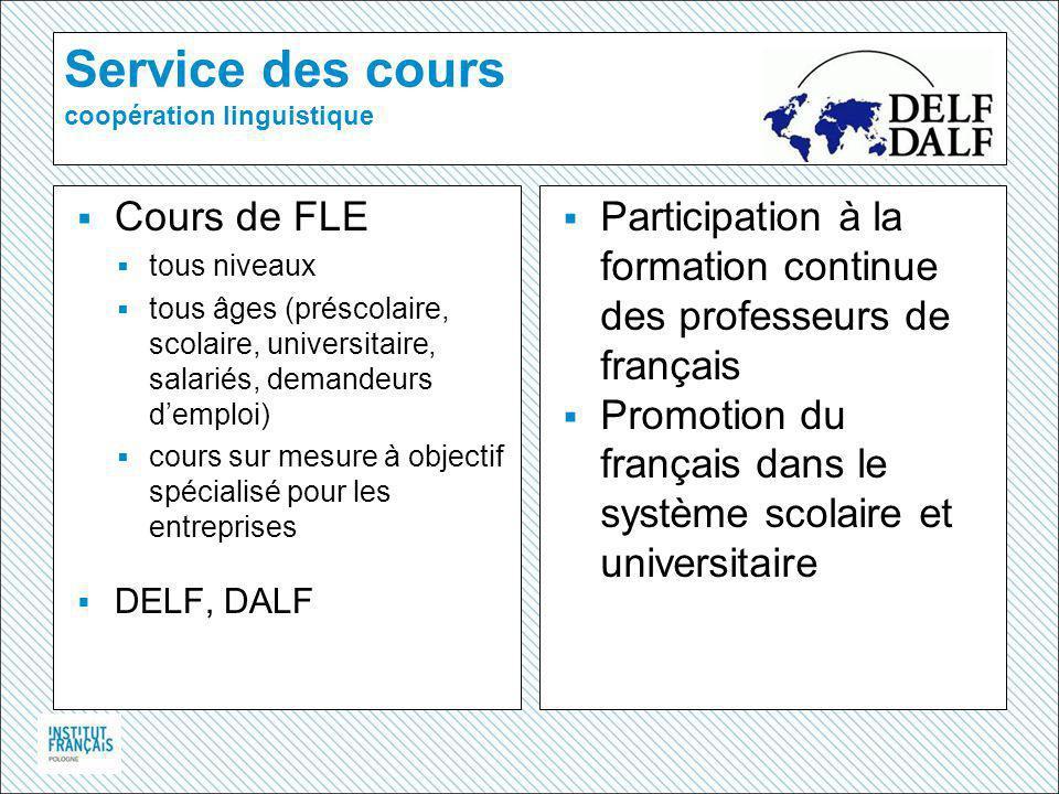 Service des cours coopération linguistique