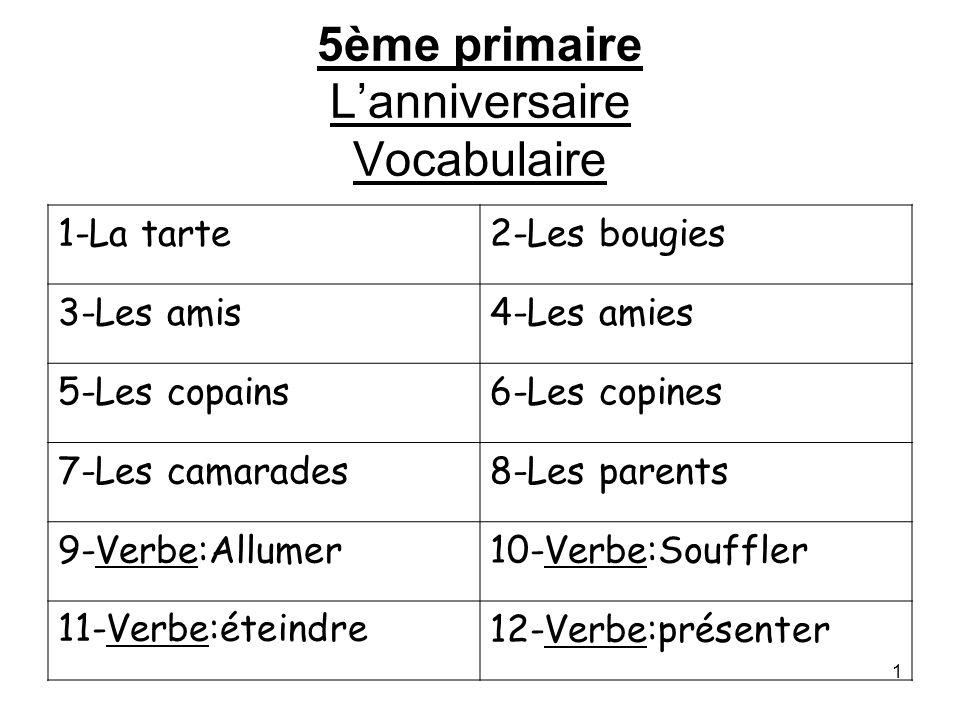 5ème primaire L'anniversaire Vocabulaire