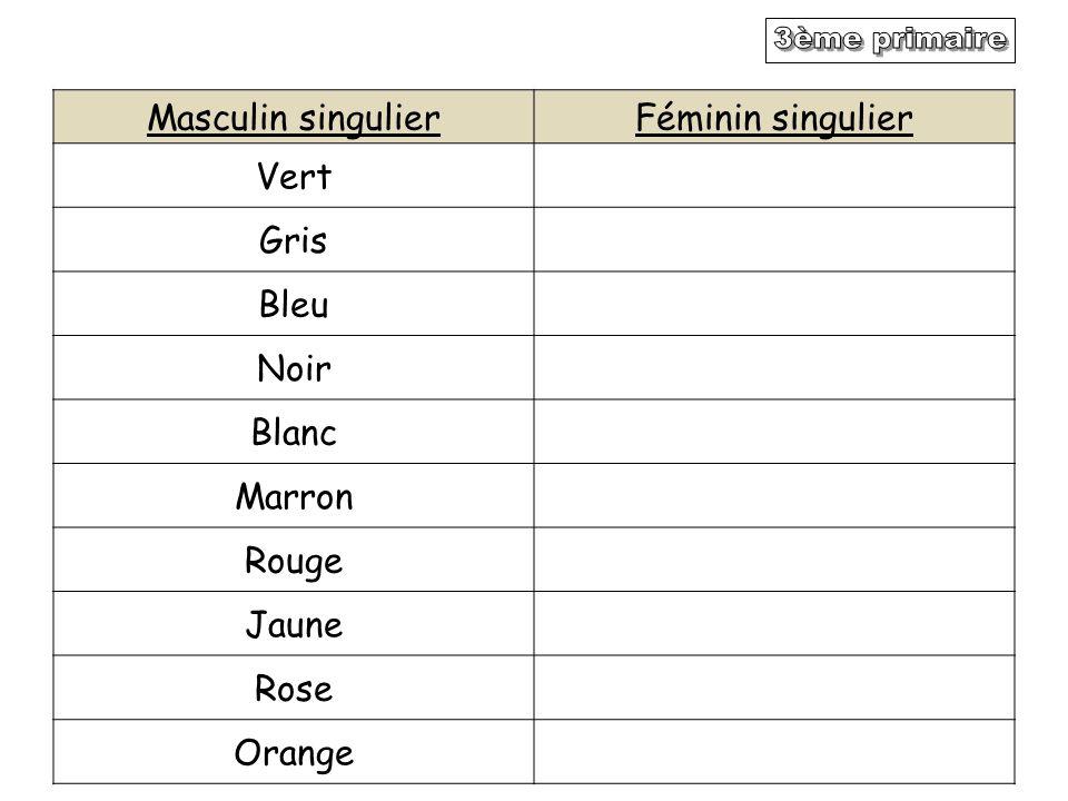 3ème primaire Masculin singulier Féminin singulier Vert Gris Bleu Noir