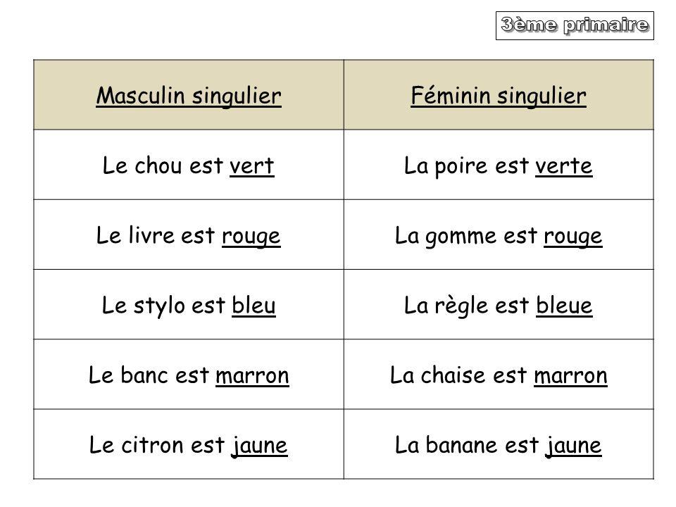 3ème primaire Masculin singulier Féminin singulier Le chou est vert