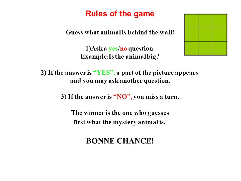 Rules of the game BONNE CHANCE! Guess what animal is behind the wall!