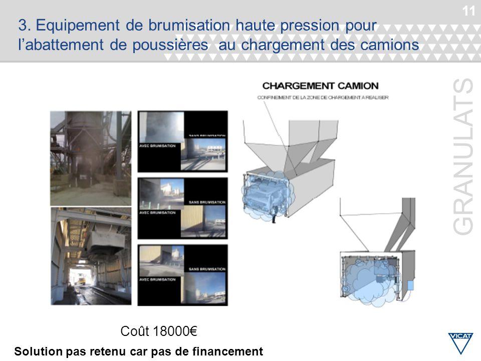 3. Equipement de brumisation haute pression pour l'abattement de poussières au chargement des camions
