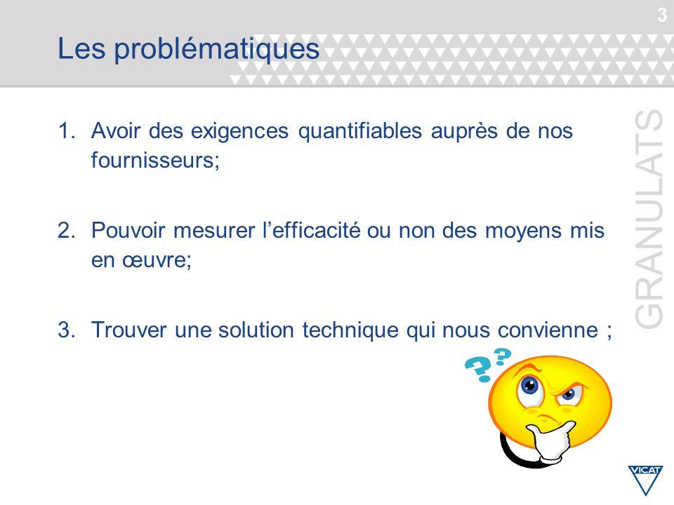 Les problématiques Avoir des exigences quantifiables auprès de nos fournisseurs; Pouvoir mesurer l'efficacité ou non des moyens mis en œuvre;