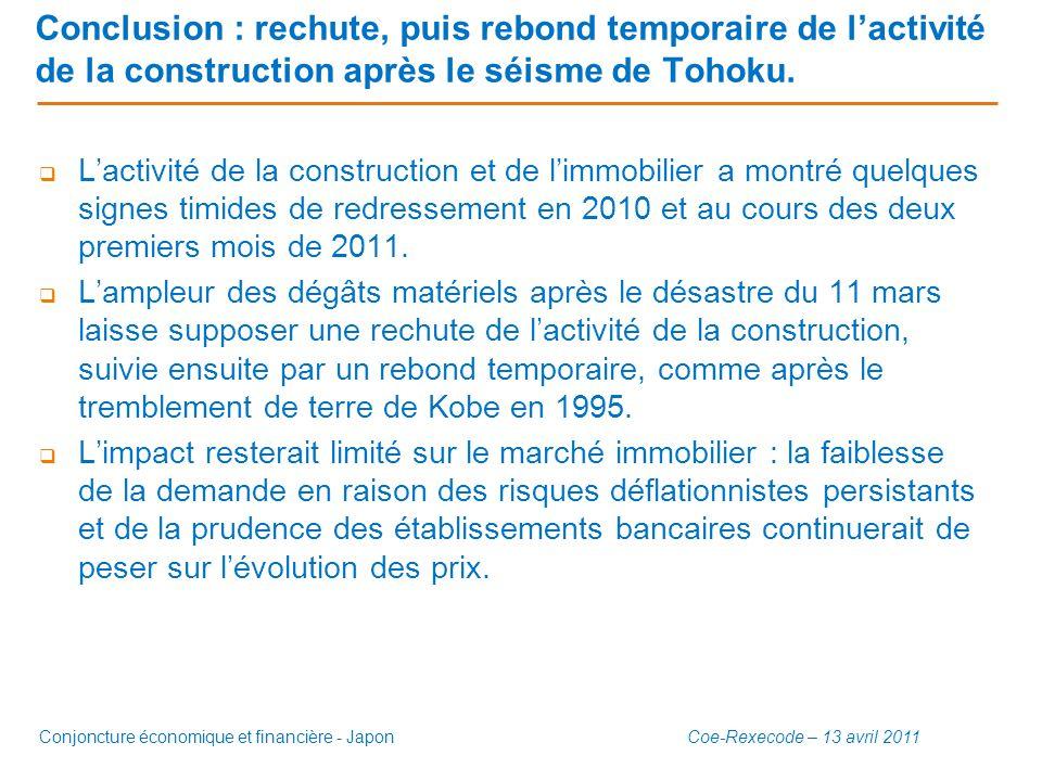 Conclusion : rechute, puis rebond temporaire de l'activité de la construction après le séisme de Tohoku.