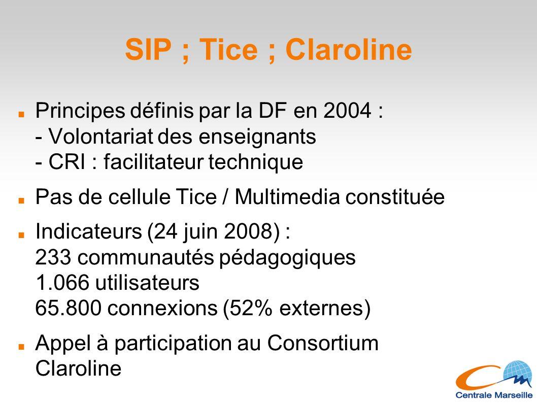 SIP ; Tice ; Claroline Principes définis par la DF en 2004 : - Volontariat des enseignants - CRI : facilitateur technique.