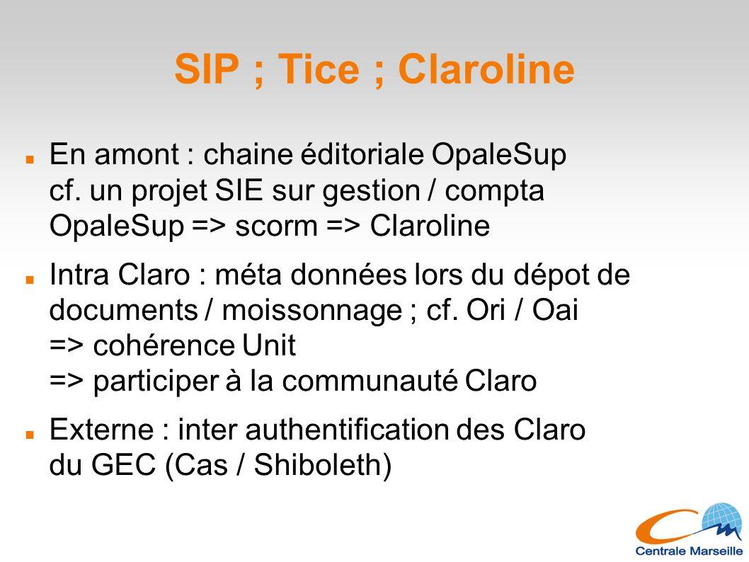 SIP ; Tice ; Claroline En amont : chaine éditoriale OpaleSup cf. un projet SIE sur gestion / compta OpaleSup => scorm => Claroline.