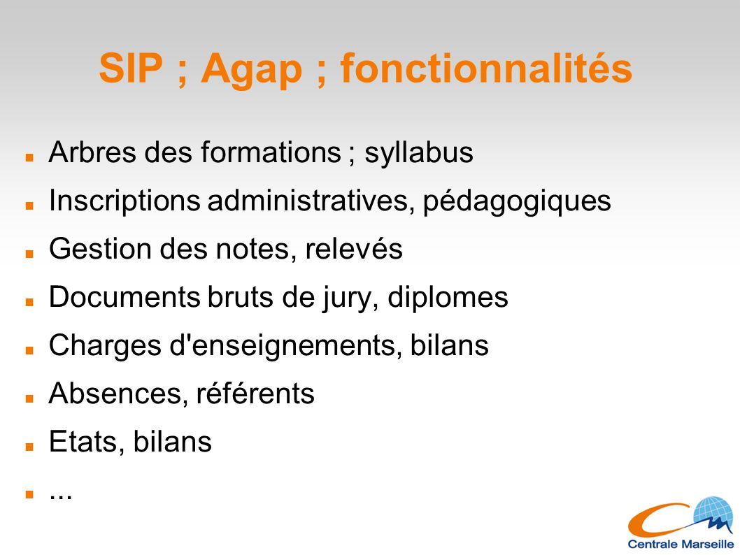 SIP ; Agap ; fonctionnalités