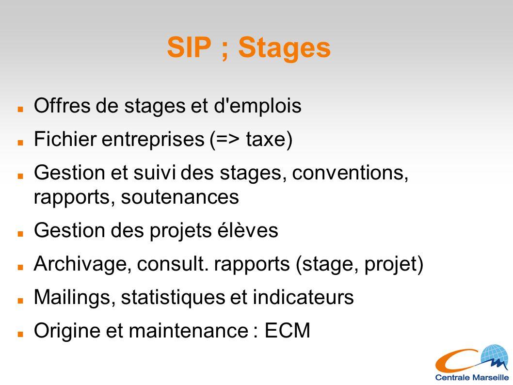 SIP ; Stages Offres de stages et d emplois