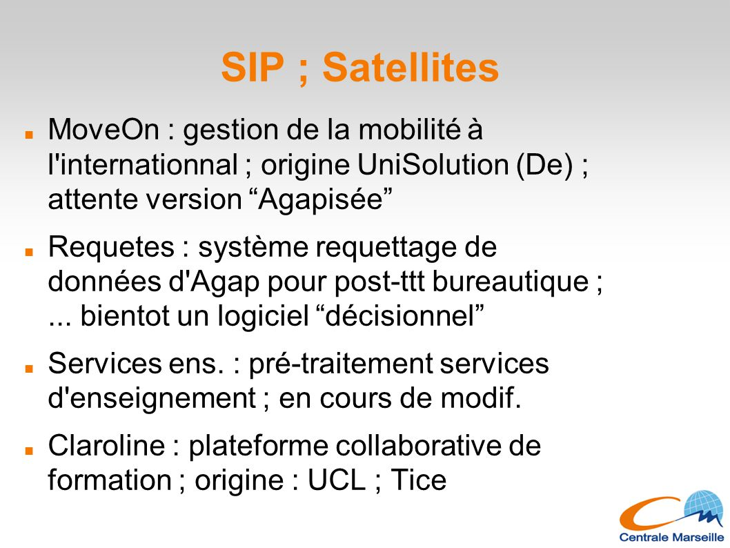 SIP ; Satellites MoveOn : gestion de la mobilité à l internationnal ; origine UniSolution (De) ; attente version Agapisée