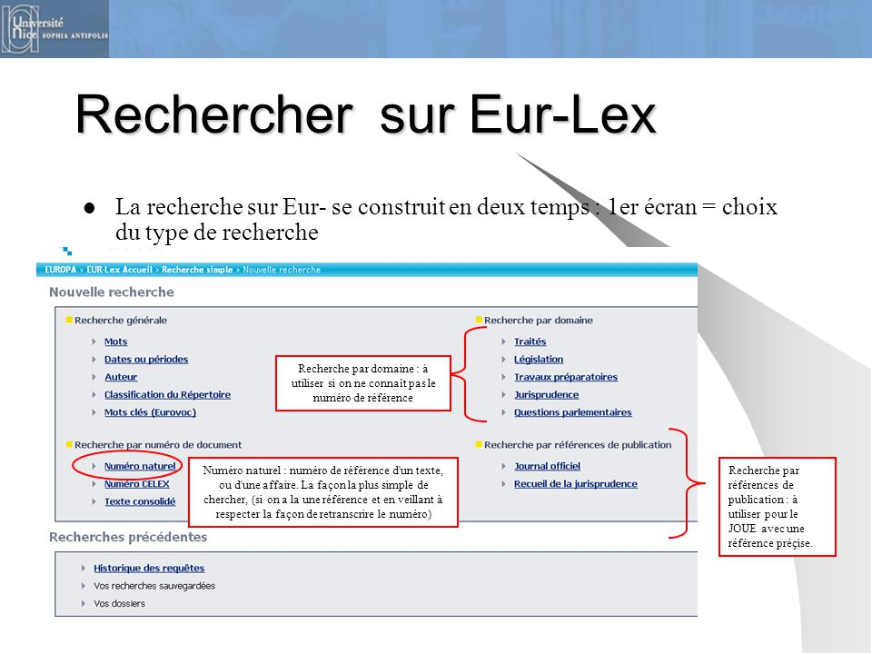 Rechercher sur Eur-Lex