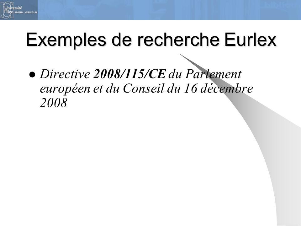 Exemples de recherche Eurlex