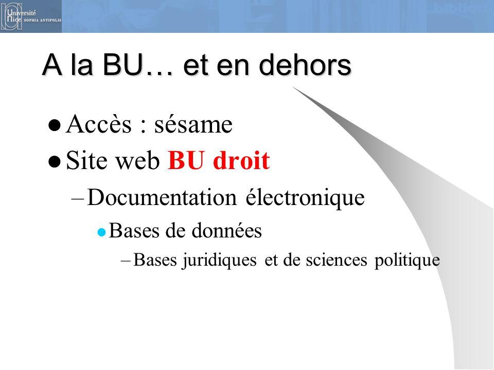 A la BU… et en dehors Accès : sésame Site web BU droit