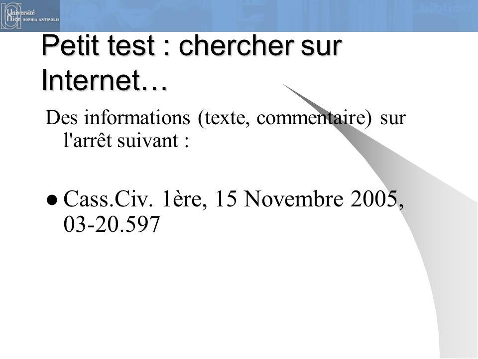 Petit test : chercher sur Internet…