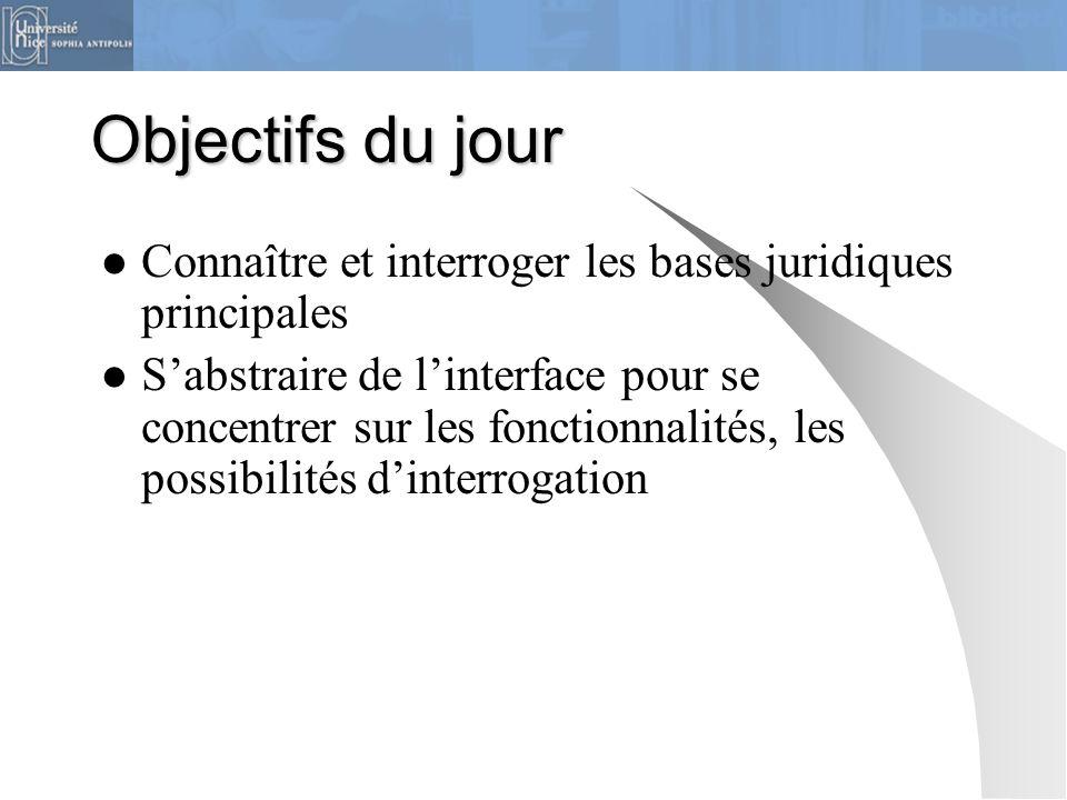 Objectifs du jour Connaître et interroger les bases juridiques principales.