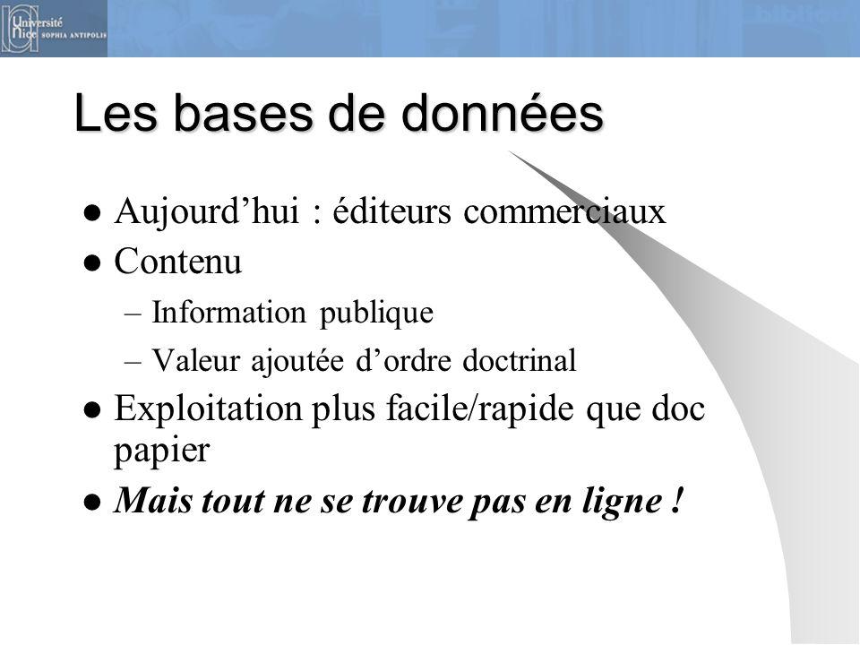 Les bases de données Aujourd'hui : éditeurs commerciaux Contenu