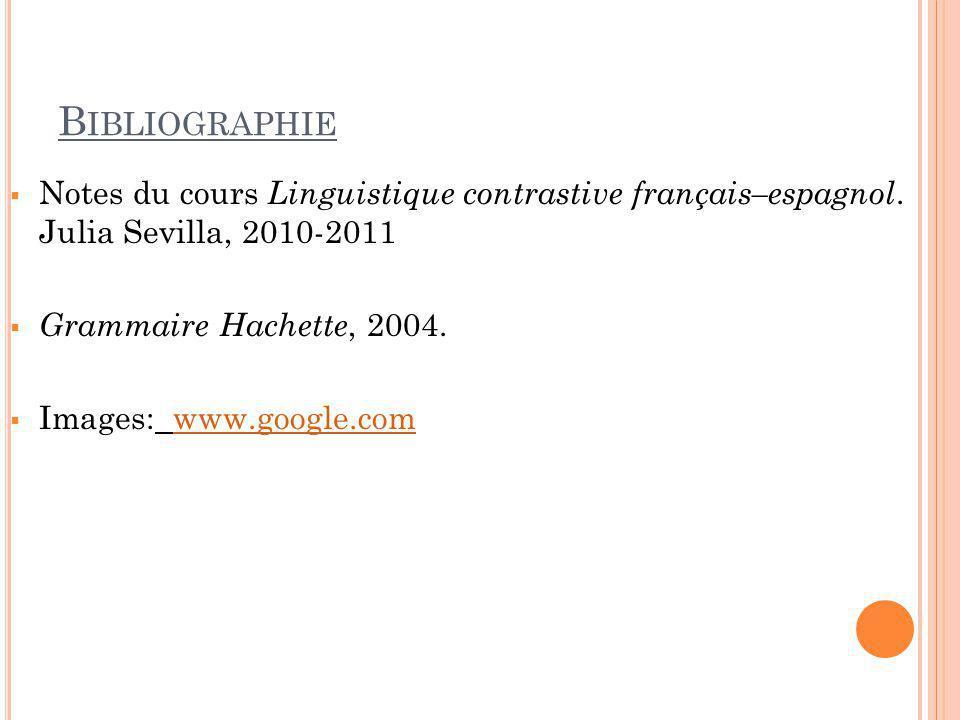 Bibliographie Notes du cours Linguistique contrastive français–espagnol. Julia Sevilla, 2010-2011.
