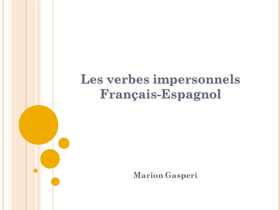 Les verbes impersonnels Français-Espagnol