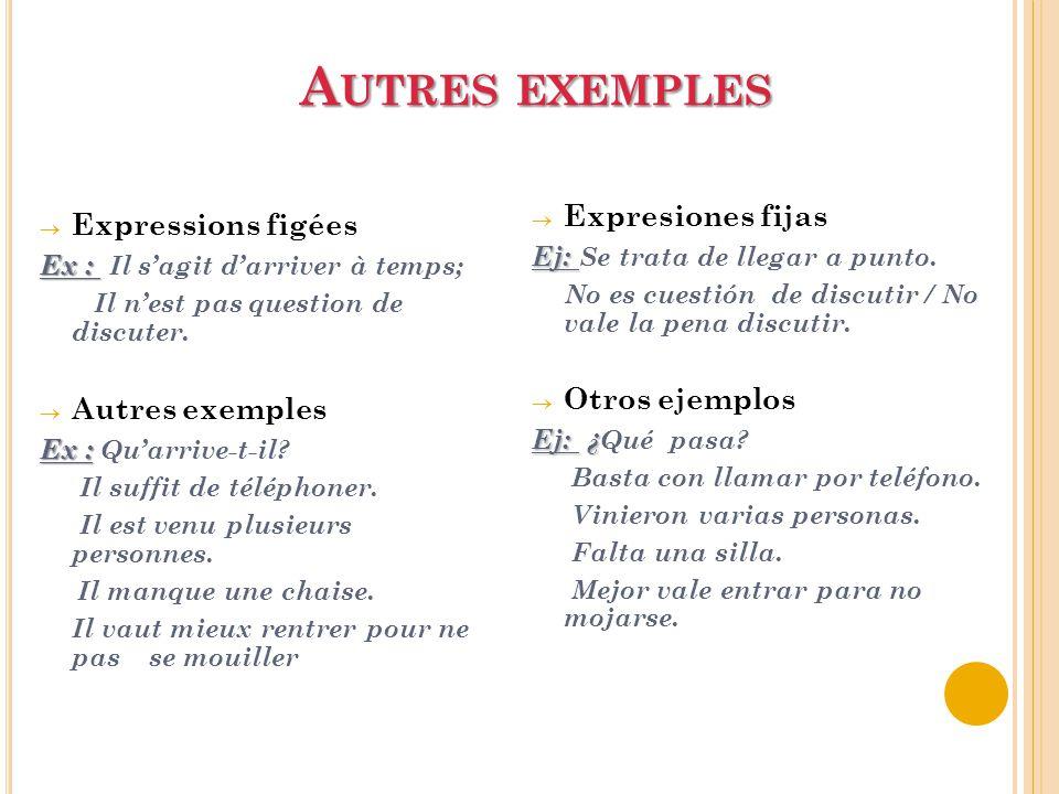 Autres exemples Expresiones fijas Expressions figées Otros ejemplos