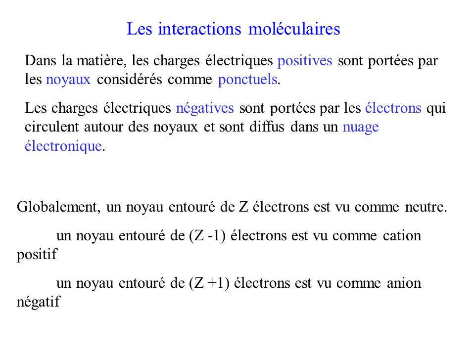 Les interactions moléculaires