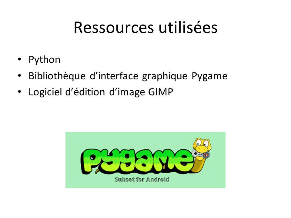 Ressources utilisées Python Bibliothèque d'interface graphique Pygame