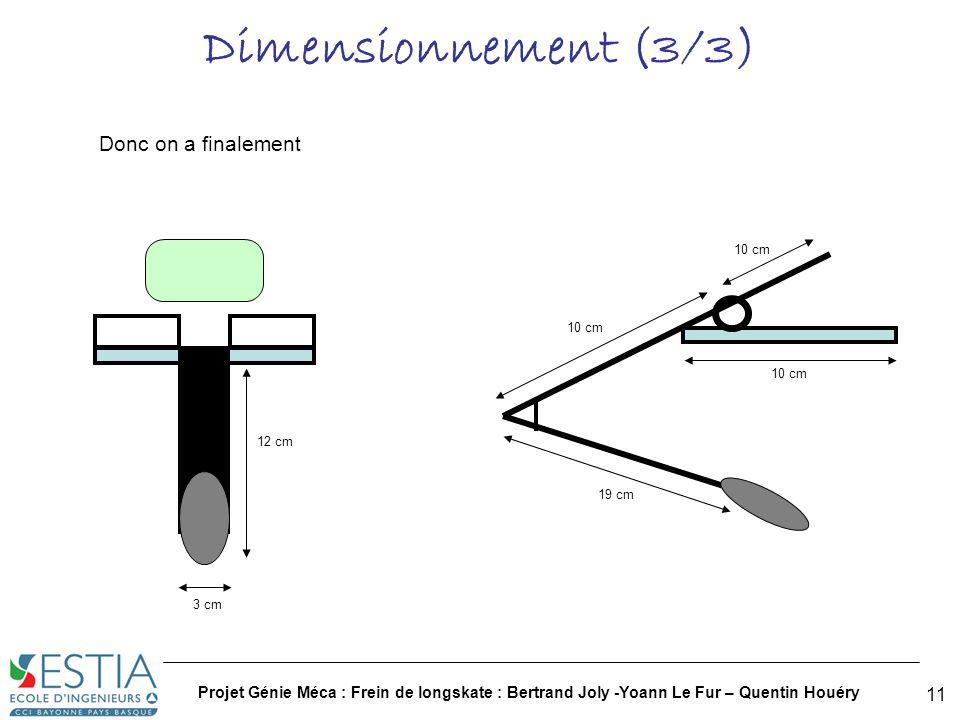 Dimensionnement (3/3) Donc on a finalement
