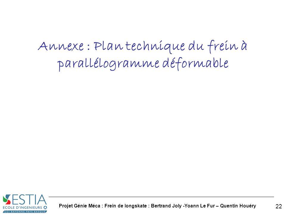 Annexe : Plan technique du frein à parallélogramme déformable