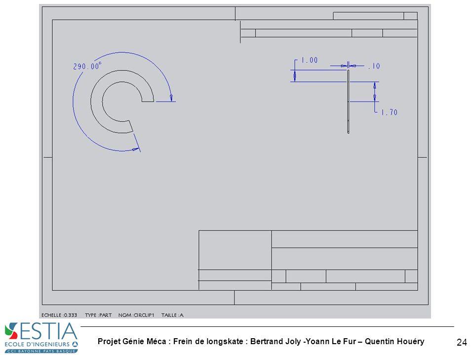 Projet Génie Méca : Frein de longskate : Bertrand Joly -Yoann Le Fur – Quentin Houéry
