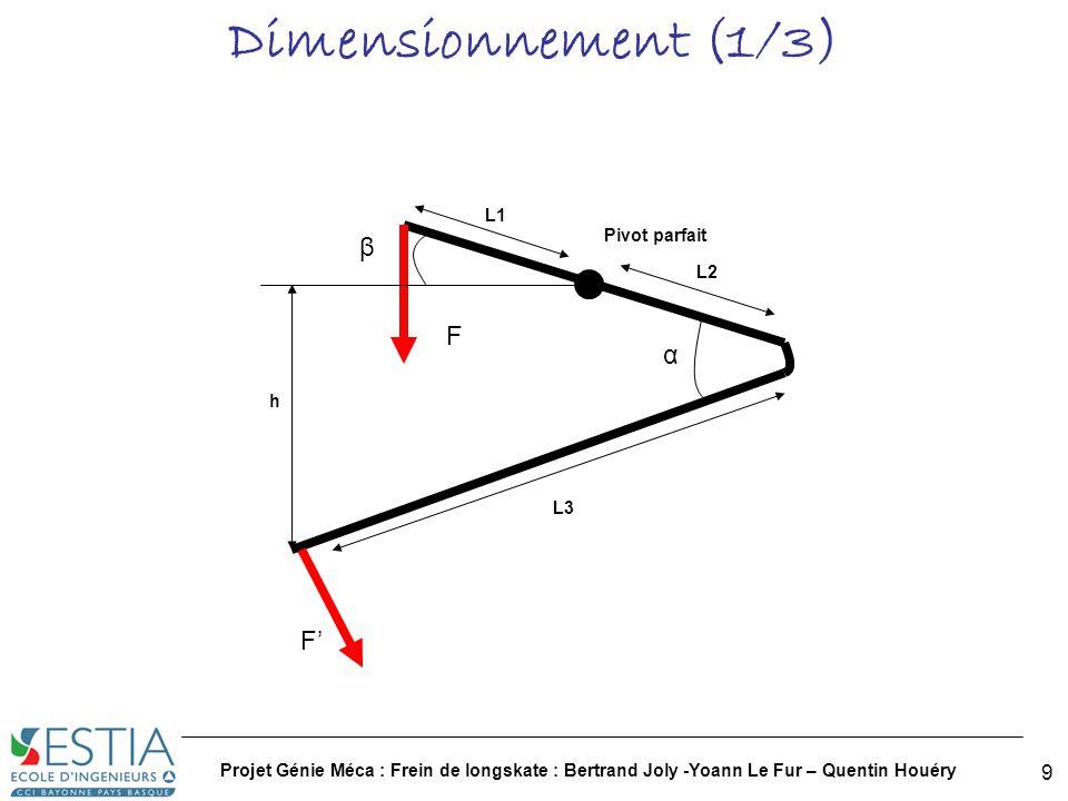 Dimensionnement (1/3) β F α F' L1 Pivot parfait L2 h L3