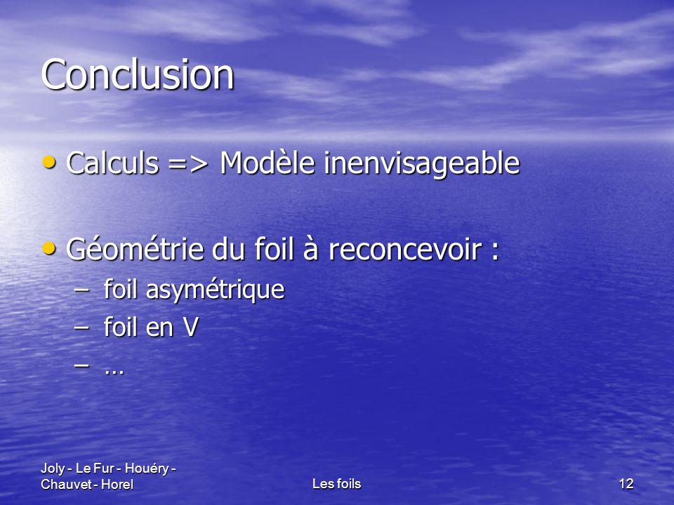 Conclusion Calculs => Modèle inenvisageable