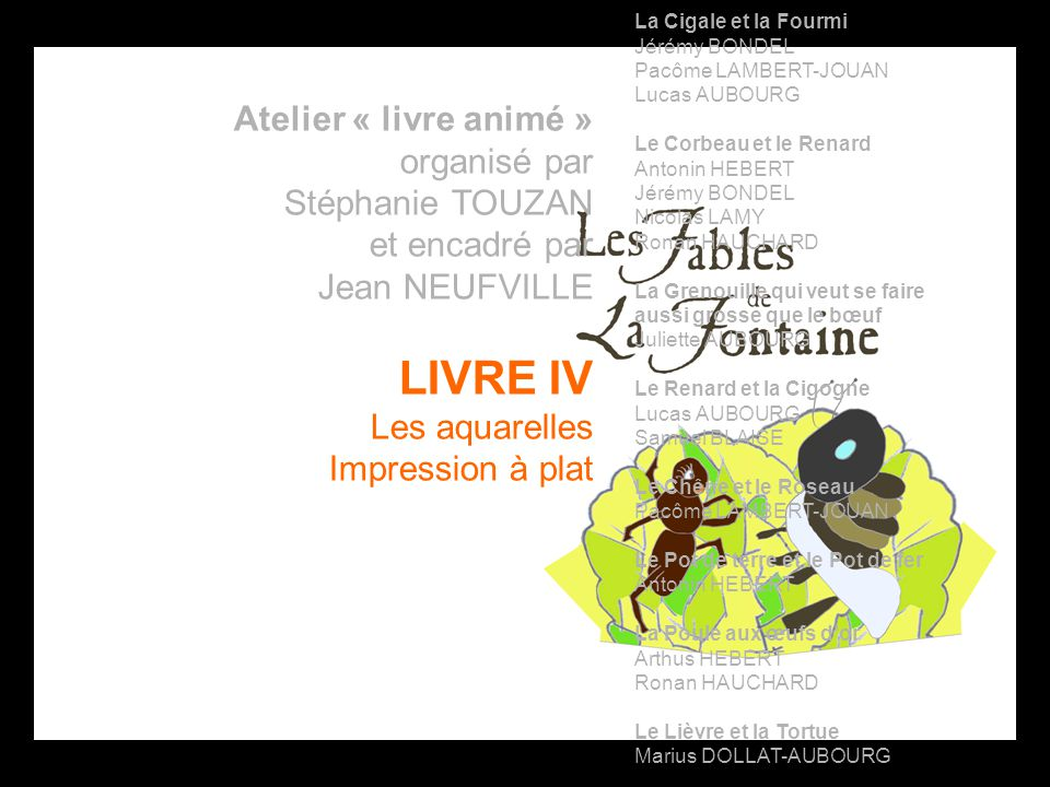 LIVRE IV Atelier « livre animé » organisé par Stéphanie TOUZAN