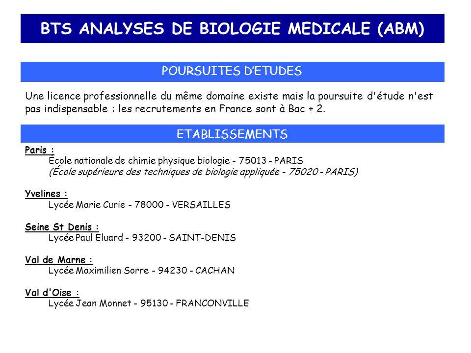 BTS ANALYSES DE BIOLOGIE MEDICALE (ABM)