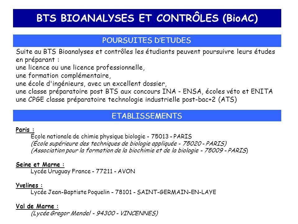 BTS BIOANALYSES ET CONTRÔLES (BioAC)