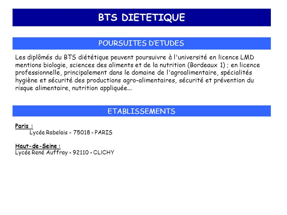 BTS DIETETIQUE POURSUITES D'ETUDES ETABLISSEMENTS