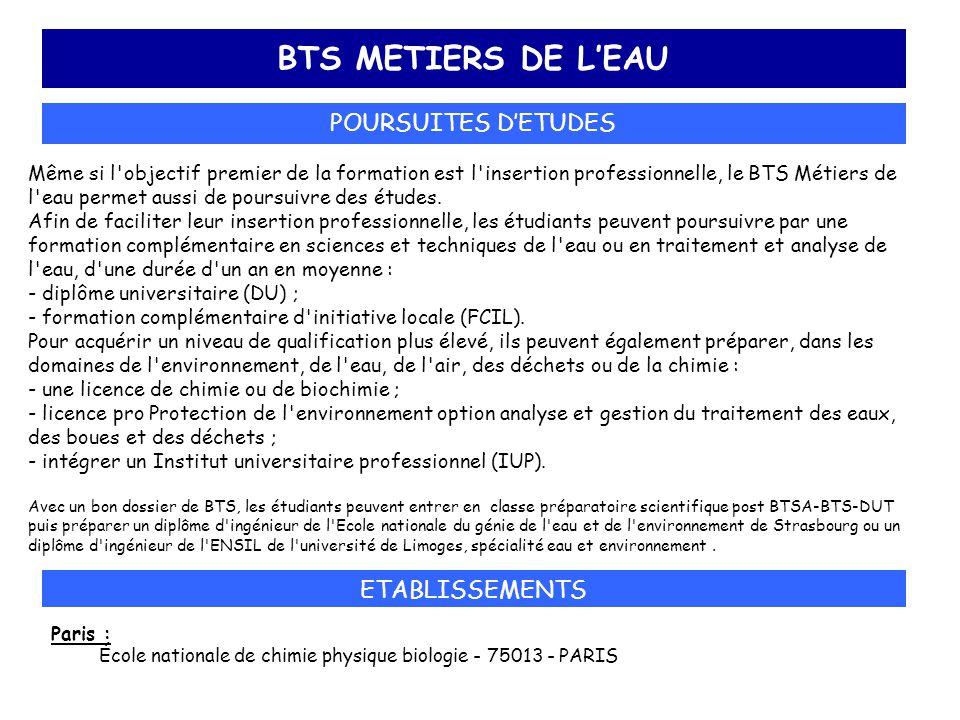 BTS METIERS DE L'EAU POURSUITES D'ETUDES ETABLISSEMENTS