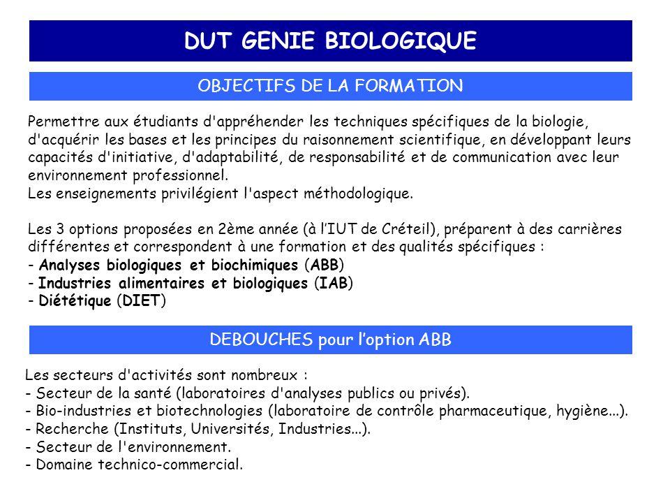 DUT GENIE BIOLOGIQUE OBJECTIFS DE LA FORMATION