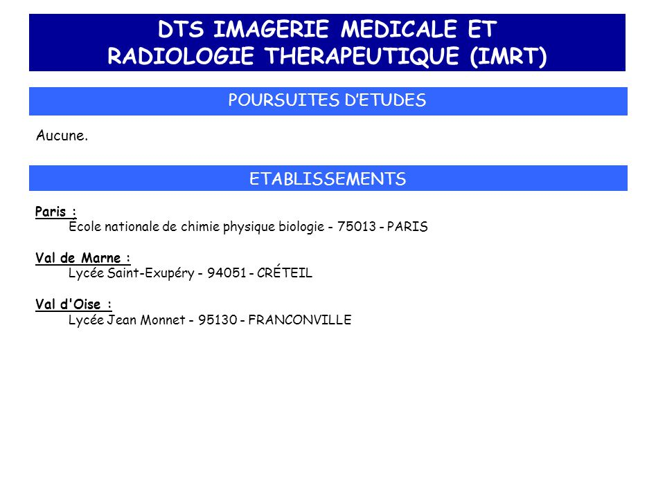 DTS IMAGERIE MEDICALE ET RADIOLOGIE THERAPEUTIQUE (IMRT)